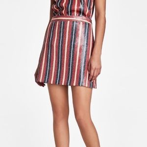 1 LEFT!! NWT Zara Striped Sequin Skirt, size small